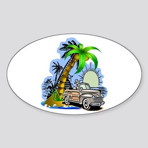Tropical Scene Sticker (Oval)