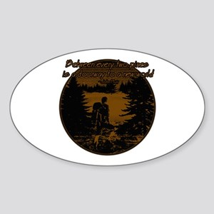 Backpacker with John Muir quote Sticker (Oval)