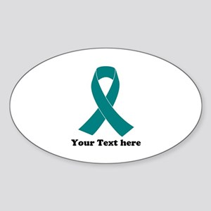 Teal Ribbon Awareness Sticker (Oval)