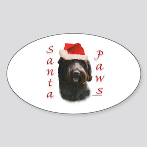Santa Paws Wirehaired Oval Sticker