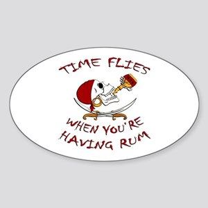 Time Flies When You're Having Rum Oval Sticker