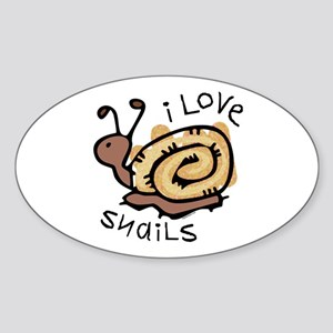 I Love Snails Oval Sticker