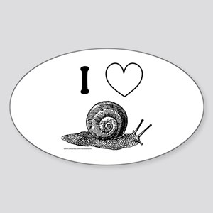 I HEART SNAILS Oval Sticker