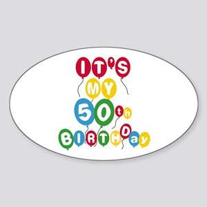 Balloons 50th Birthday Oval Sticker