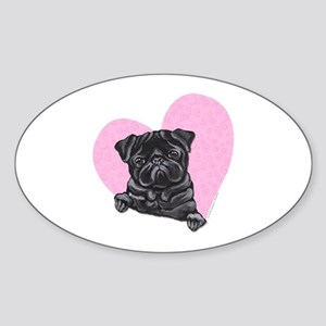 Black Pug Pink Heart Sticker (Oval)