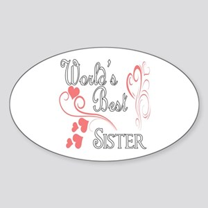 Best Sister (Pink Hearts) Sticker (Oval)