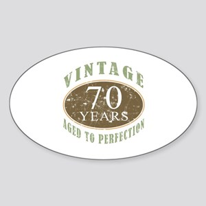 Vintage 70th Birthday Sticker (Oval)