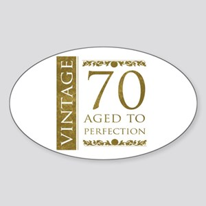Fancy Vintage 70th Birthday Sticker (Oval)