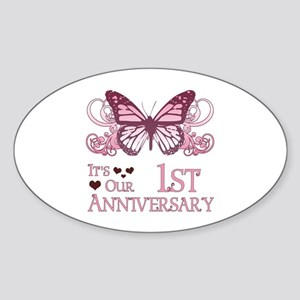 1st Wedding Aniversary (Butterfly) Sticker (Oval)