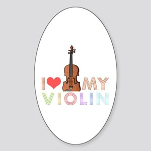 I Love My Violin Oval Sticker