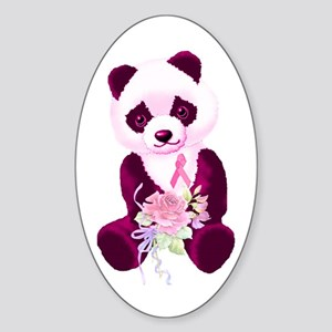 Breast Cancer Panda Bear Oval Sticker