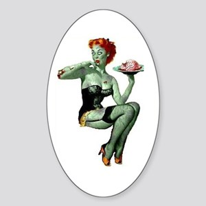 zombie pin-up girl Sticker (Oval)