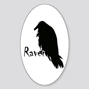 Black Raven on Raven Sticker (Oval)