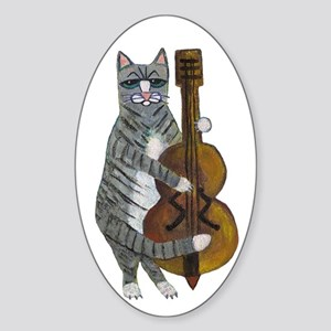 Cat and Cello Sticker (Oval)