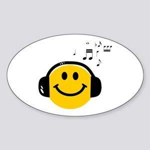 Music Loving Smiley Sticker (Oval)
