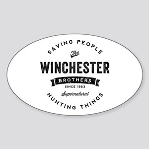 SUPERNATURAL Winchester Bros black Sticker (Oval)