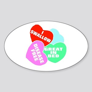 NAUGHTY HEARTS Oval Sticker