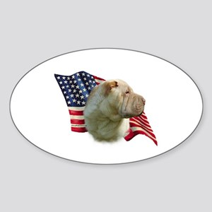Shar-Pei Flag Oval Sticker