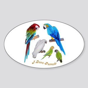 I love Parrots Oval Sticker