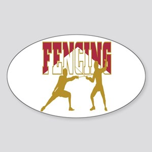 Fencing Logo (Red & Gold) Oval Sticker