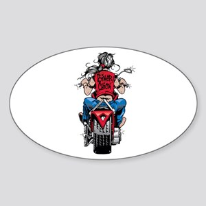 Biker Chick Oval Sticker