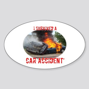 I Survived A Car Accident Oval Sticker