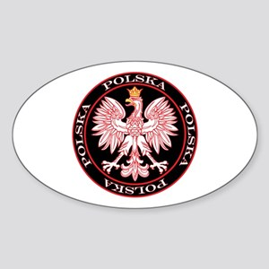 Round Polska Eagle Sticker (Oval)