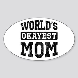 Vintage World's Okayest Mom Sticker (Oval)
