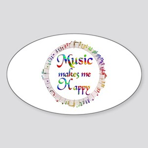 Music makes me Happy Sticker (Oval)