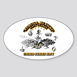 Navy - Seabee - Badge Sticker (Oval)