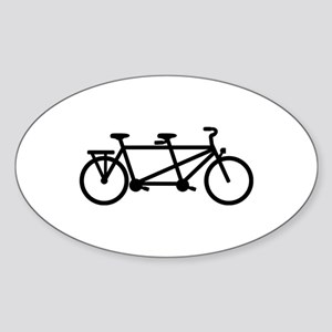 Tandem Bicycle Sticker (Oval)