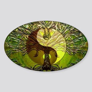 Yin Yang Green Tree of Life Sticker