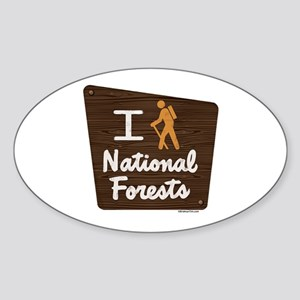 I HIKE NATIONAL FORESTS Sticker (Oval)