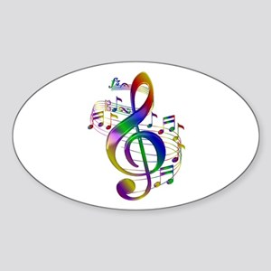 Colorful Treble Clef Sticker (Oval)