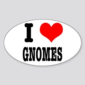 I Heart (Love) Gnomes Oval Sticker