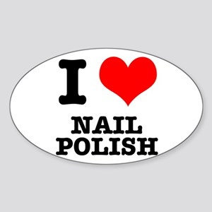 I Heart (Love) Nail Polish Oval Sticker