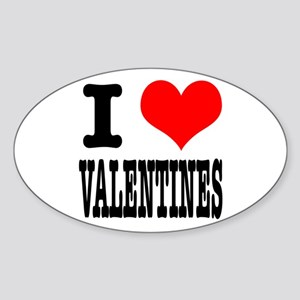 I Heart (Love) Valentines Oval Sticker