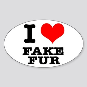 I Heart (Love) Fake Fur Oval Sticker