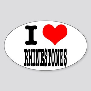 I Heart (Love) Rhinestones Oval Sticker