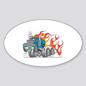 Hot Rod (Flames) 18 Wheeler Truck Oval Sticker