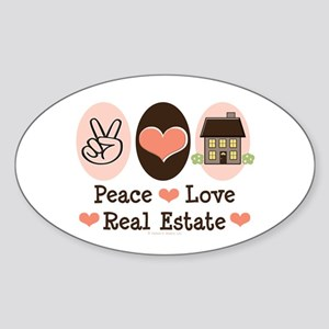 Peace Love Real Estate Agent Oval Sticker