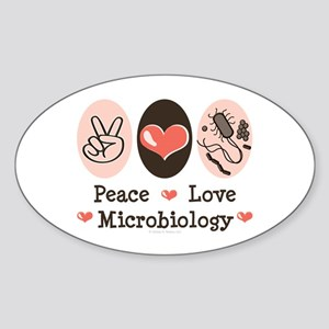 Peace Love Microbiology Oval Sticker