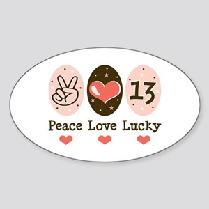 Peace Love Lucky 13 Oval Sticker