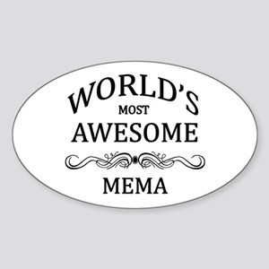 World's Most Awesome Mema Sticker (Oval)