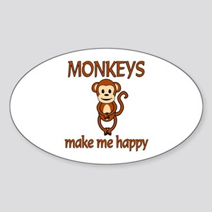 Monkey Happy Sticker (Oval)