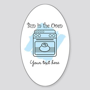 Bun in the Oven (blue) Sticker (Oval)