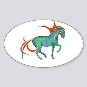 mosaic horse Oval Sticker