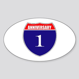 1st Anniversary! Sticker (Oval)