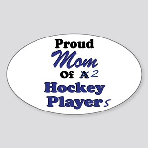 Mom 2 Hockey Players Sticker (Oval)
