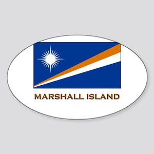 The Marshall Islands Flag Gear Oval Sticker